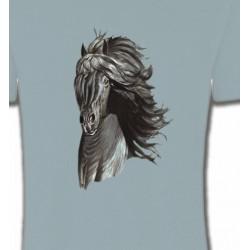 T-Shirts Cheval Tête de cheval  Frison noir (A)