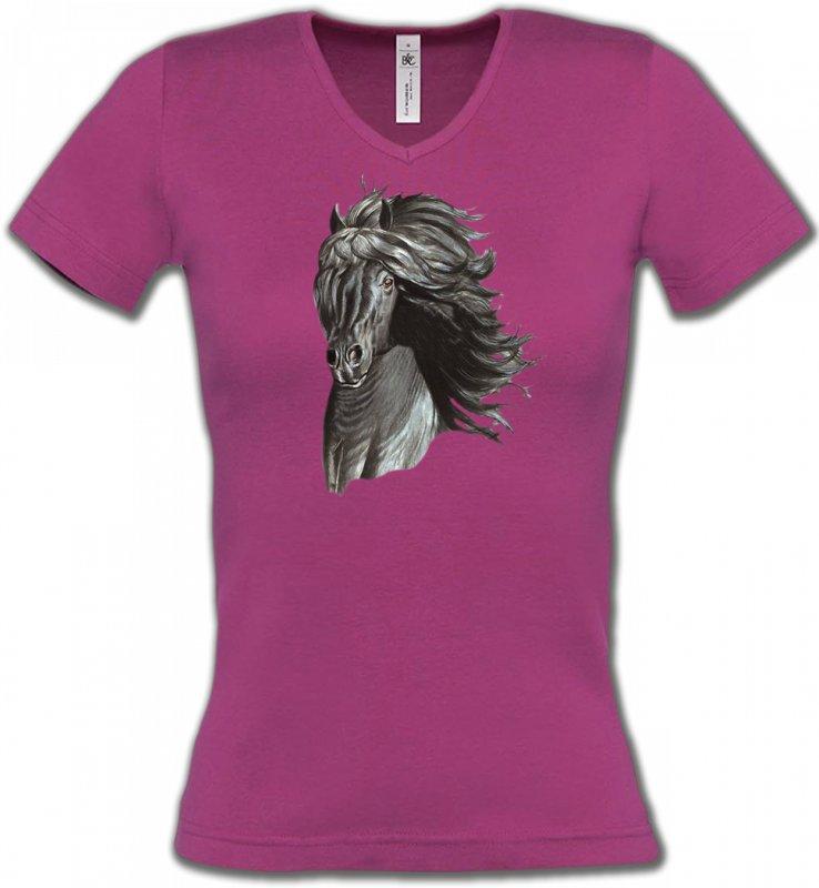 T-Shirts Col V FemmesChevalTête de cheval  Frison noir (A)