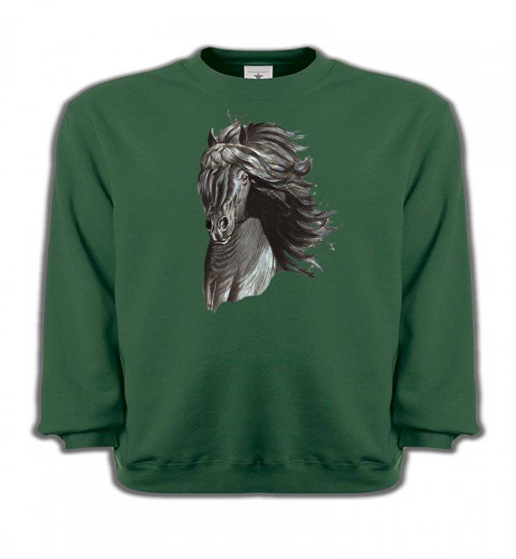 Sweatshirts EnfantsChevalTête de cheval  Frison noir (A)
