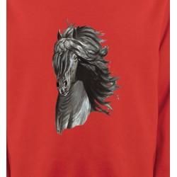 Sweatshirts Cheval Tête de cheval  Frison noir (A)