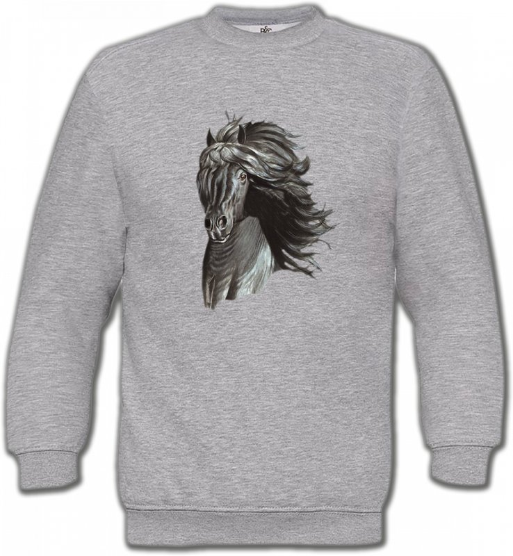 Sweatshirts UnisexeChevalTête de cheval  Frison noir (A)