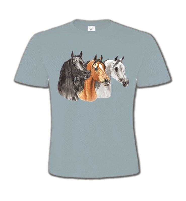 T-Shirts Col Rond EnfantsChevalTête de chevaux pur sang  noir brun et blanc (B)