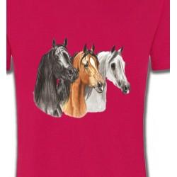 T-Shirts Cheval Tête de chevaux pur sang  noir brun et blanc (B)