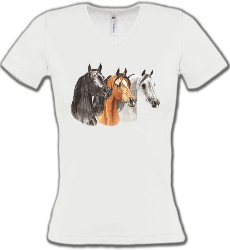 T-Shirts Col V FemmesChevalTête de chevaux pur sang  noir brun et blanc (B)