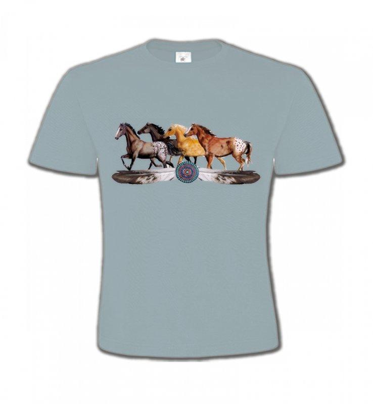 T-Shirts Col Rond EnfantsChevalAppaloosa Chevaux motif indien (E3)