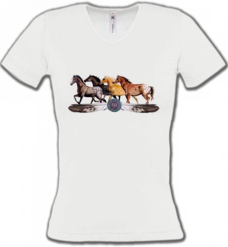 T-Shirts Col V FemmesChevalAppaloosa Chevaux motif indien (E3)