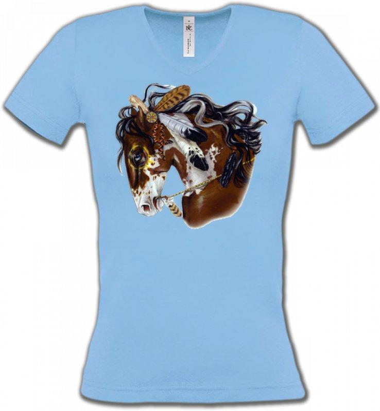 T-Shirts Col V FemmesChevalCheval indien (H2)