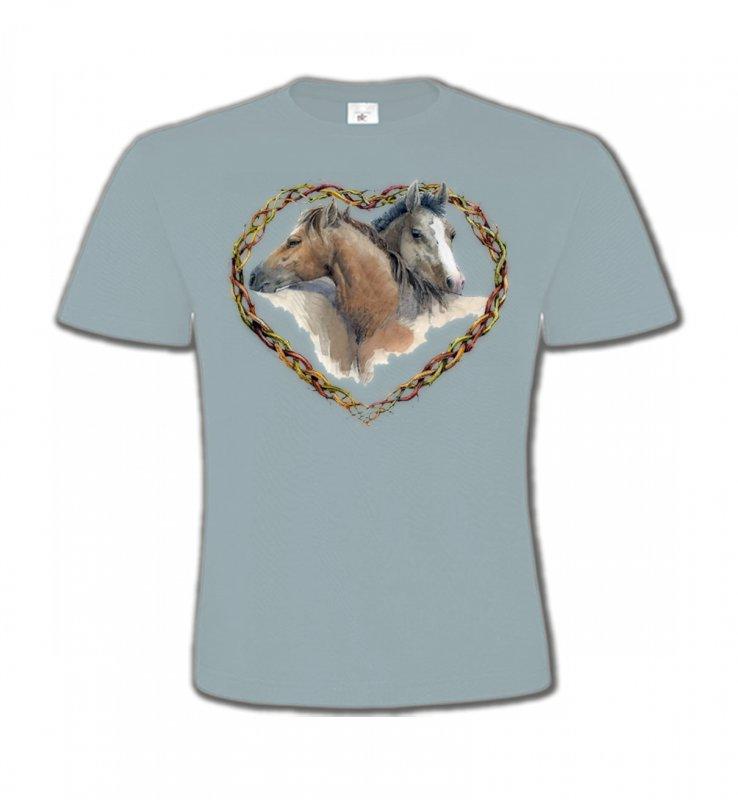 T-Shirts Col Rond EnfantsChevalCoeur têtes de chevaux (I)
