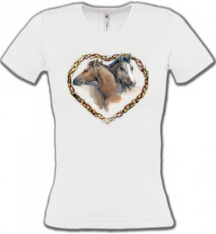 T-Shirts Col V FemmesChevalCoeur têtes de chevaux (I)