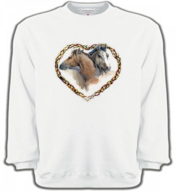 Sweatshirts UnisexeChevalCoeur têtes de chevaux (I)