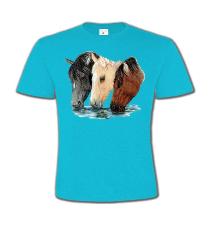 T-Shirts Col Rond EnfantsChevalChevaux qui boivent (M)