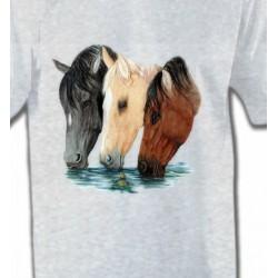 T-Shirts Cheval Chevaux qui boivent (M)