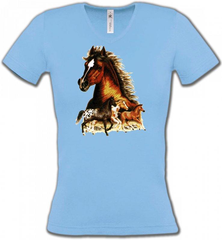 T-Shirts Col V FemmesChevalChevaux (F)