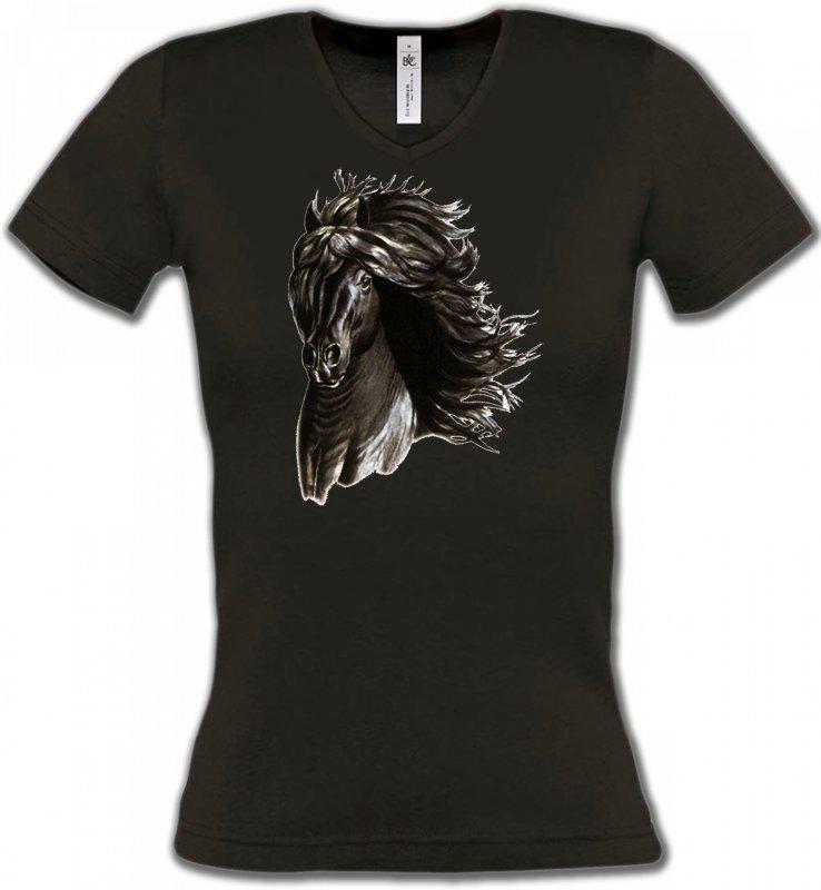 T-Shirts Col V FemmesChevalCheval noir
