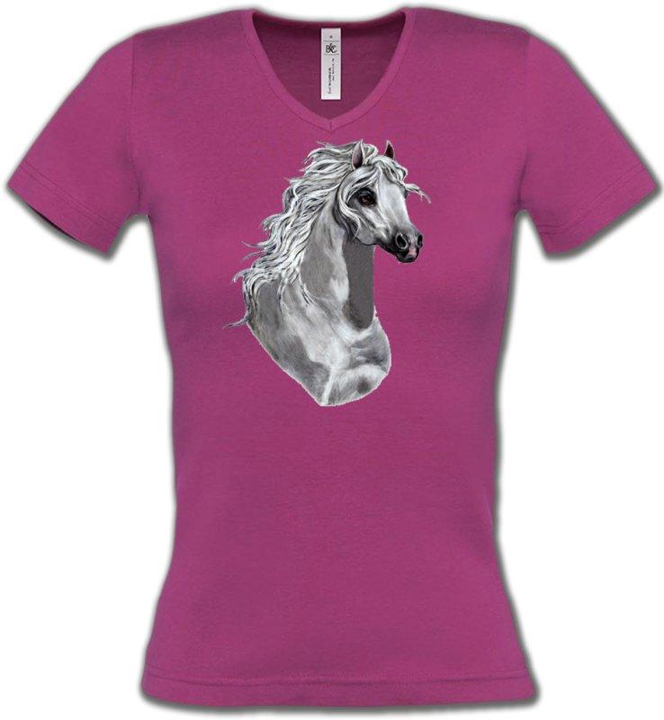 T-Shirts Col V FemmesChevalCheval Blanc (T)
