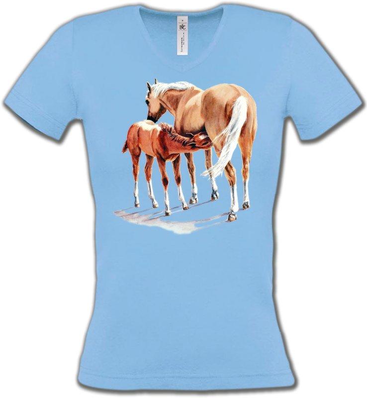 T-Shirts Col V FemmesChevalCheval et poulain