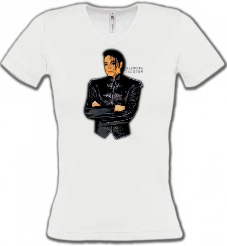 T-Shirts Col V FemmesCélébritésMichael Jackson