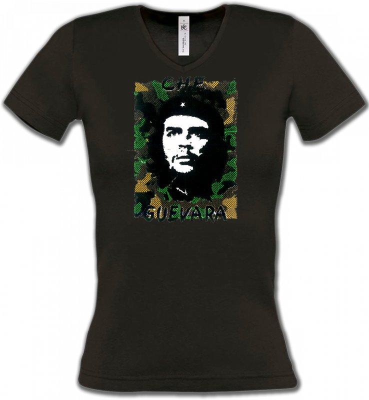 T-Shirts Col V FemmesCélébritésChe Guevara (B2)