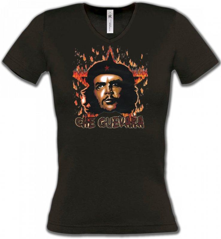 T-Shirts Col V FemmesCélébritésChe Guevara (2)