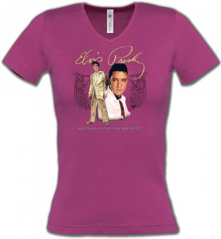 T-Shirts Col V FemmesCélébritésElvis Presley (B)