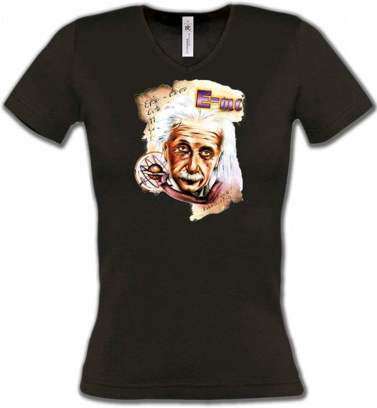 T-Shirts Col V FemmesCélébritésAlbert Einstein