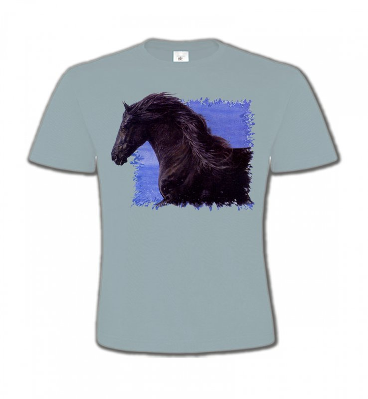 T-Shirts Col Rond Enfants Cheval Frison Cheval (N)