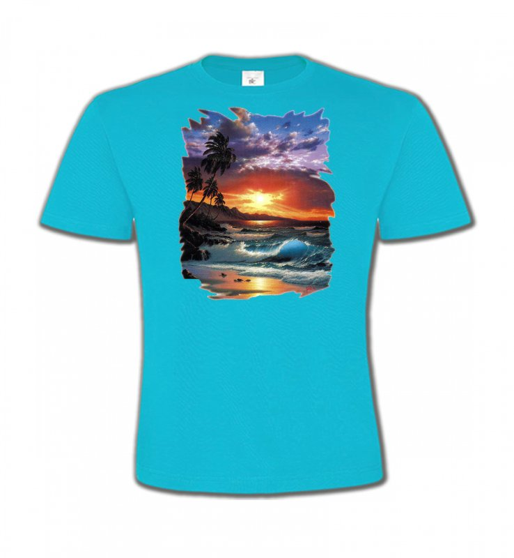 T-Shirts Col Rond EnfantsNature et paysagesCoucher de soleil à la plage (S)