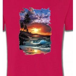 T-Shirts Nature et paysages Coucher de soleil à la plage (S)