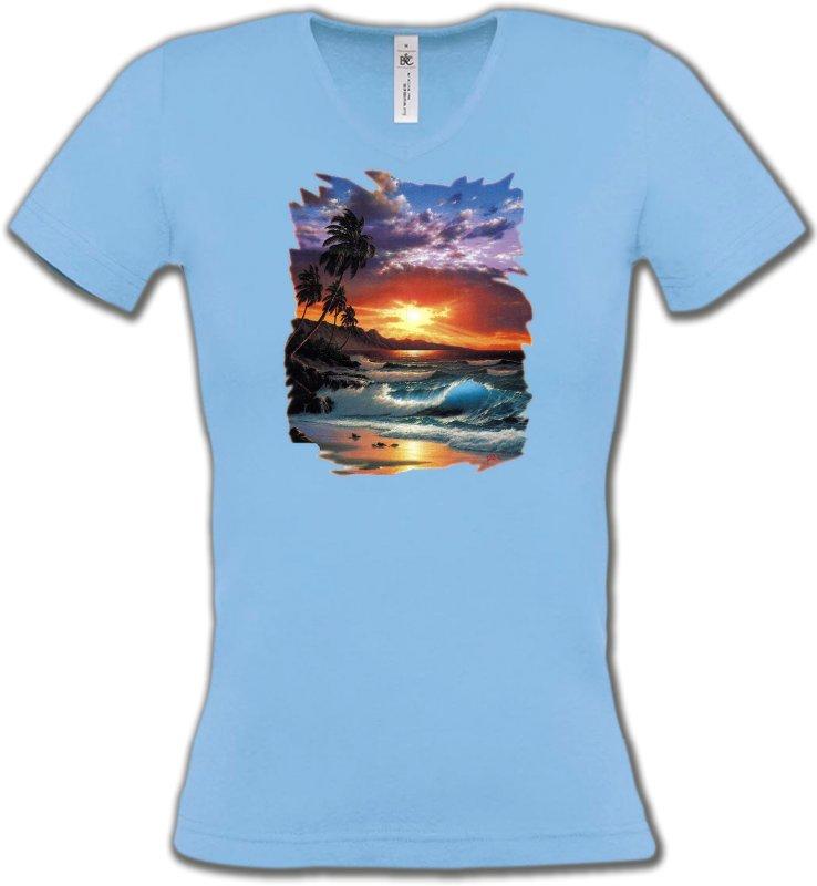 T-Shirts Col V FemmesNature et paysagesCoucher de soleil à la plage (S)