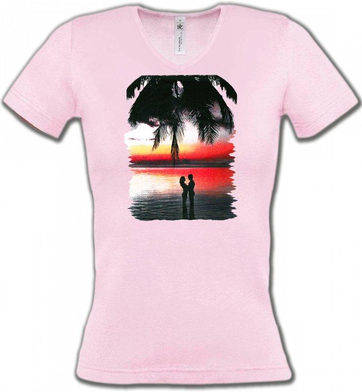 T-Shirts Col V FemmesNature et paysagesCoucher de soleil