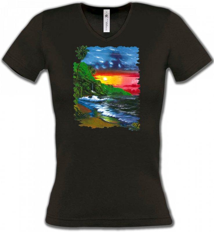 T-Shirts Col V FemmesNature et paysagesCoucher de soleil sur la mer