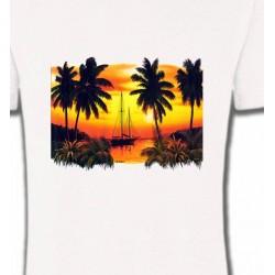 T-Shirts Nature et paysages Coucher de soleil sous les palmiers