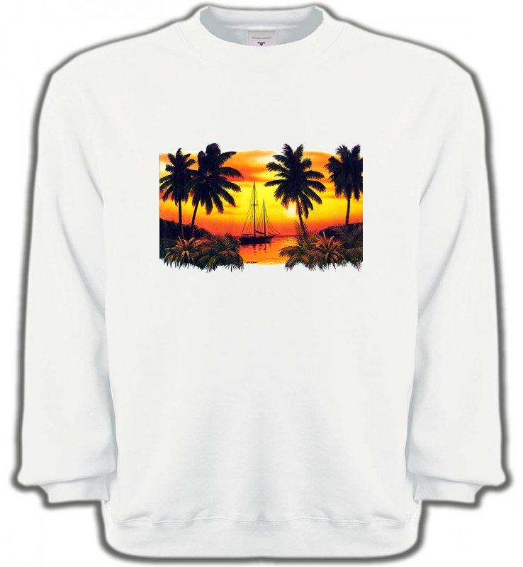 Sweatshirts UnisexeNature et paysagesCoucher de soleil sous les palmiers