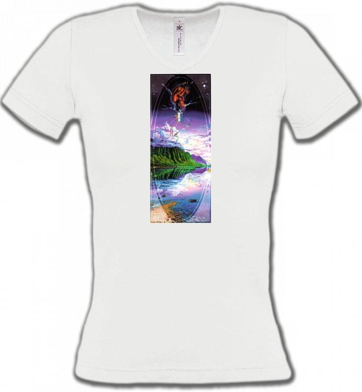 T-Shirts Col V FemmesNature et paysagesPsychédélique