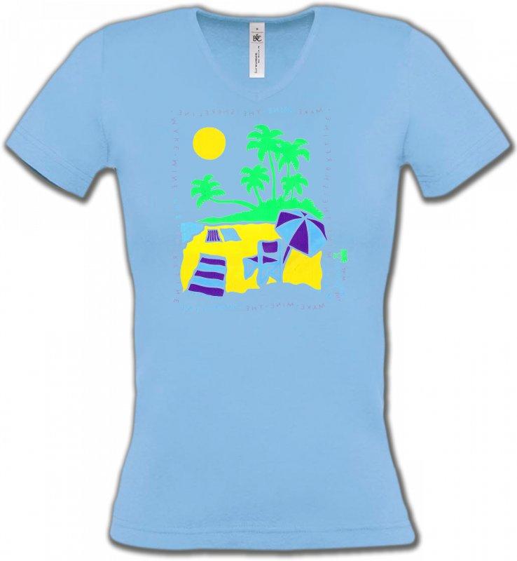 T-Shirts Col V FemmesNature et paysagesPlage dessin