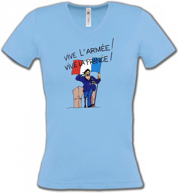 T-Shirts Col V FemmesHumour/amourancien combattant  Vive la France  (C)