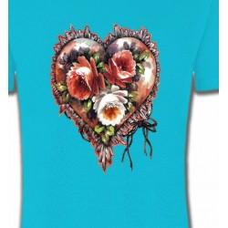 T-Shirts Fleurs/Romantique Coeur fleuri