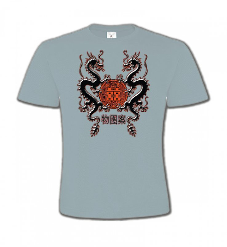 T-Shirts Col Rond EnfantsSignes astrologiquesDragons noirs chinois (A4)