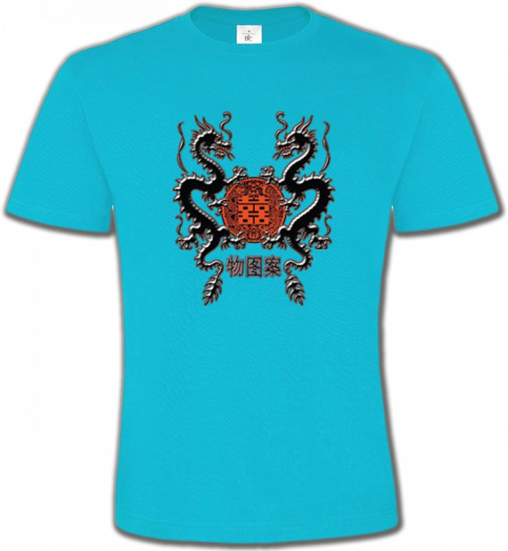T-Shirts Col Rond UnisexeSignes astrologiquesDragons noirs chinois (A4)