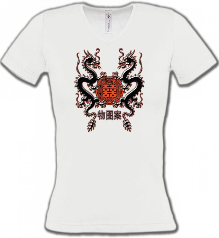 T-Shirts Col V FemmesSignes astrologiquesDragons noirs chinois (A4)