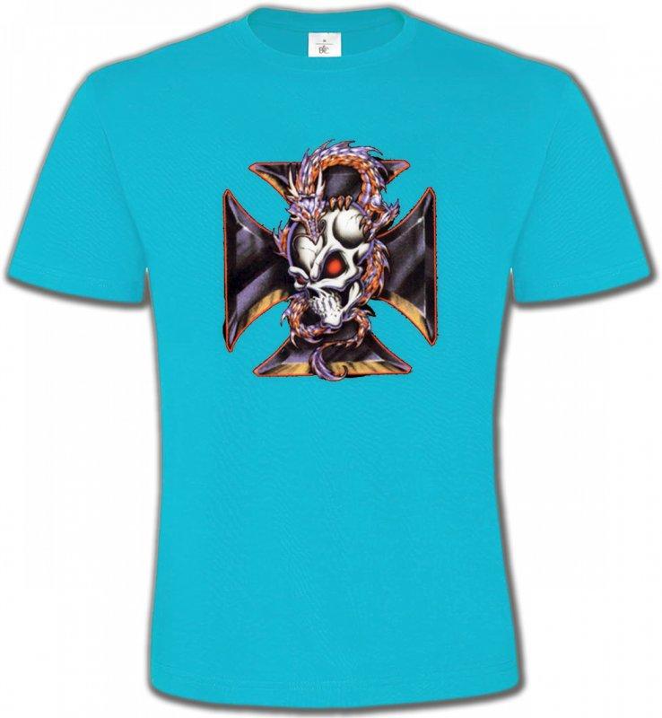 T-Shirts Col Rond UnisexeDragonsDragons et Croix de Choppers (Z2)