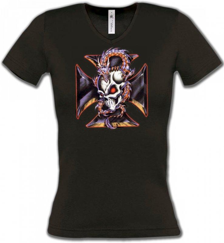 T-Shirts Col V FemmesDragonsDragons et Croix de Choppers (Z2)