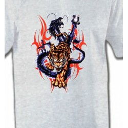 T-Shirts Dragons Dragon bleu et Tigre (E4)