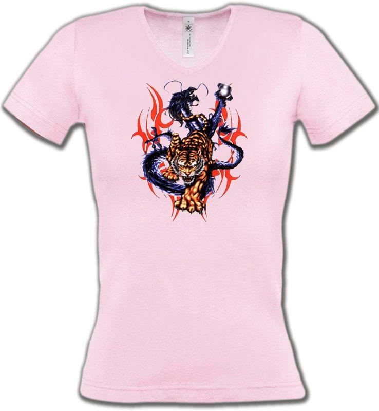 T-Shirts Col V FemmesDragonsDragon bleu et Tigre (E4)
