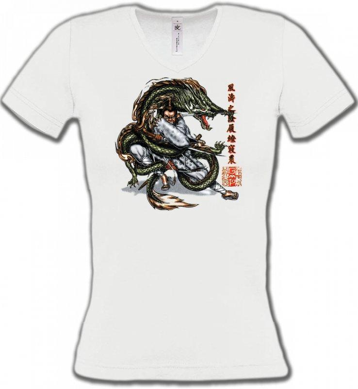 T-Shirts Col V FemmesSignes astrologiquesDragon et Samouraï (V3)