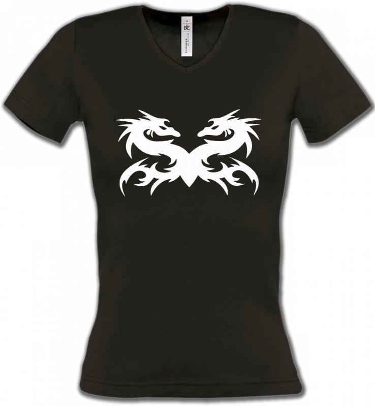 T-Shirts Col V FemmesDragonsDragons (W5)
