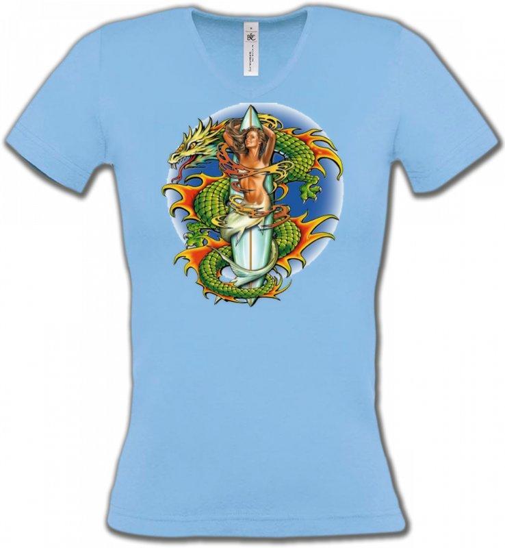 T-Shirts Col V FemmesDragonsDragon vert (X3)