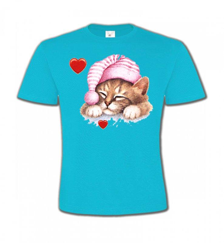 T-Shirts Col Rond EnfantsRaces de chatsChaton avec bonnet rose (S2)