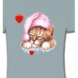 T-Shirts Races de chats Chaton avec bonnet rose (S2)