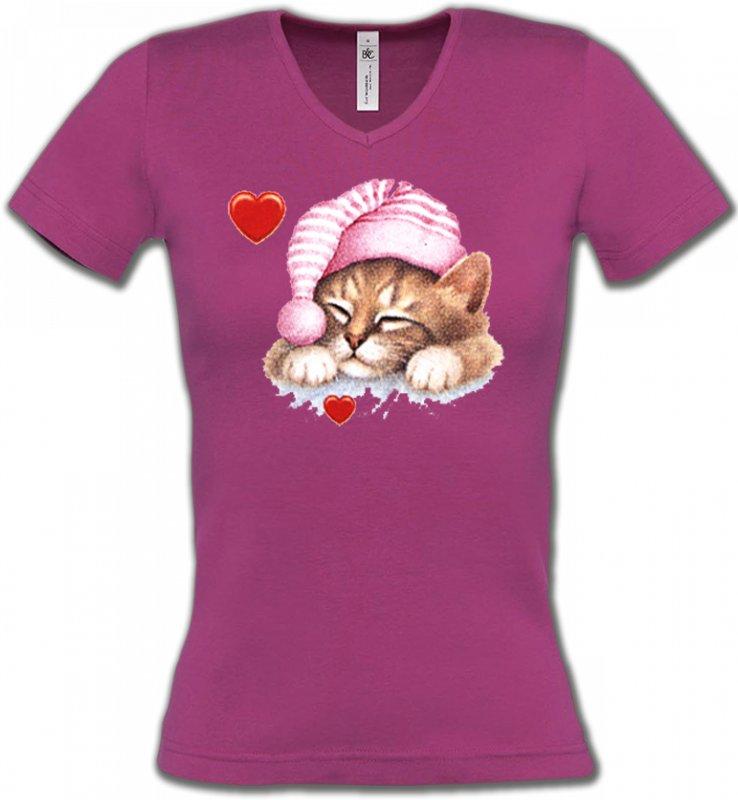 T-Shirts Col V FemmesRaces de chatsChaton avec bonnet rose (S2)